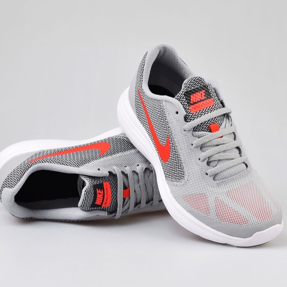 NIKE REVOLUTION 3 WOLF GREY ORANGE WOMENS SHOES